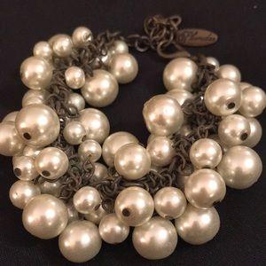 Vintage Plunder pearl cluster bracelet